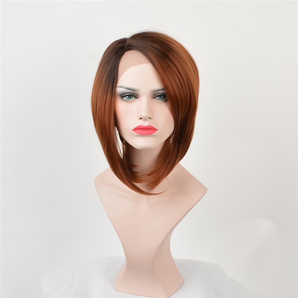African American fashion wigs Fashion lace front wigs Black root Dark brown hair and blond-haired women have high temperature resistance wig