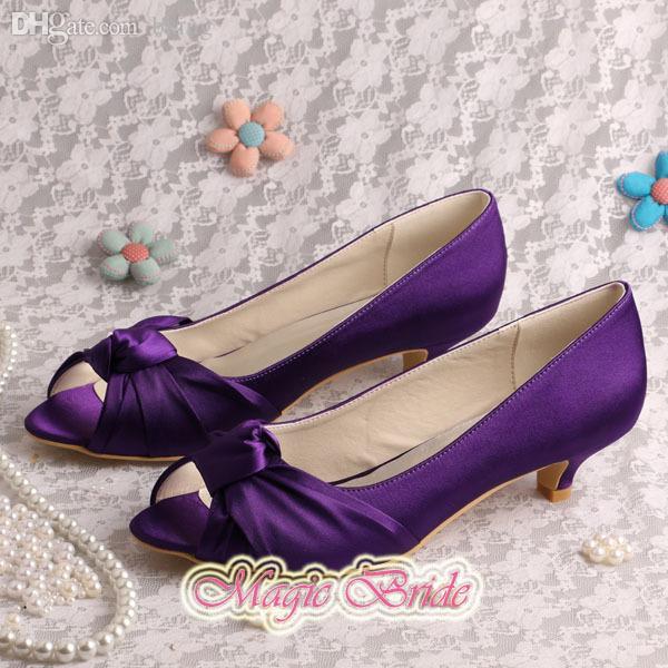 Wholesale Magic Custom Handmade Bridal Low Heel Shoes Purple Satin ...