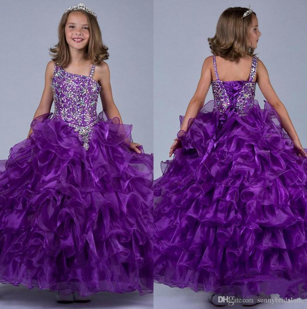 Purple Ritzee Girl Pageant Dresses Shiny Beaded Crystals Ruffled ...