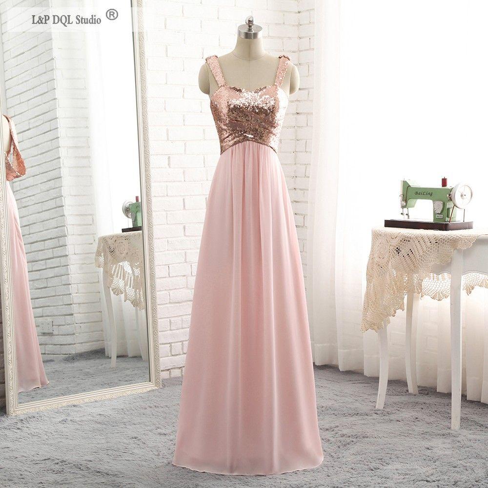 Sequined Pink Bridesmaid Dresses Chiffon Floor Length Sweetheart ...