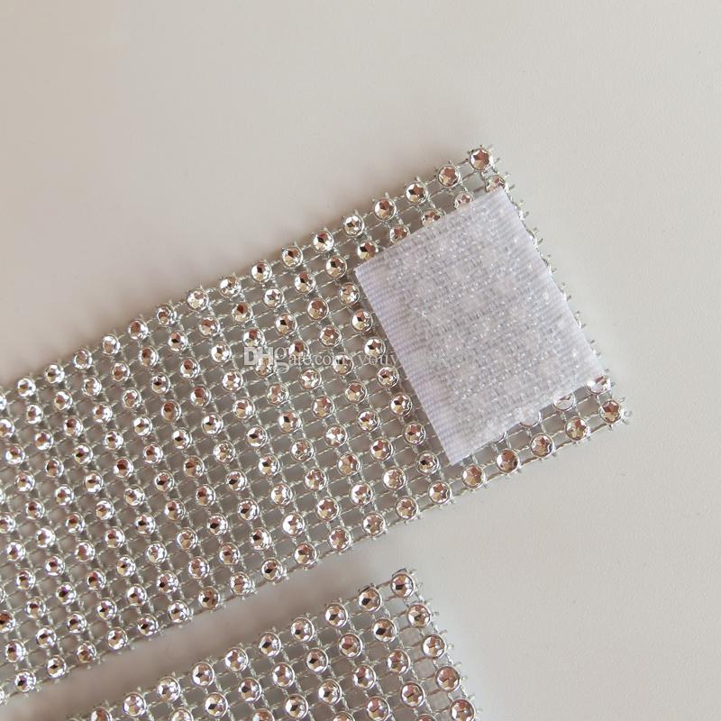 New Design Satin or Taffeta Chair Band With Plastic Diamond Buckle for Wedding Decoration