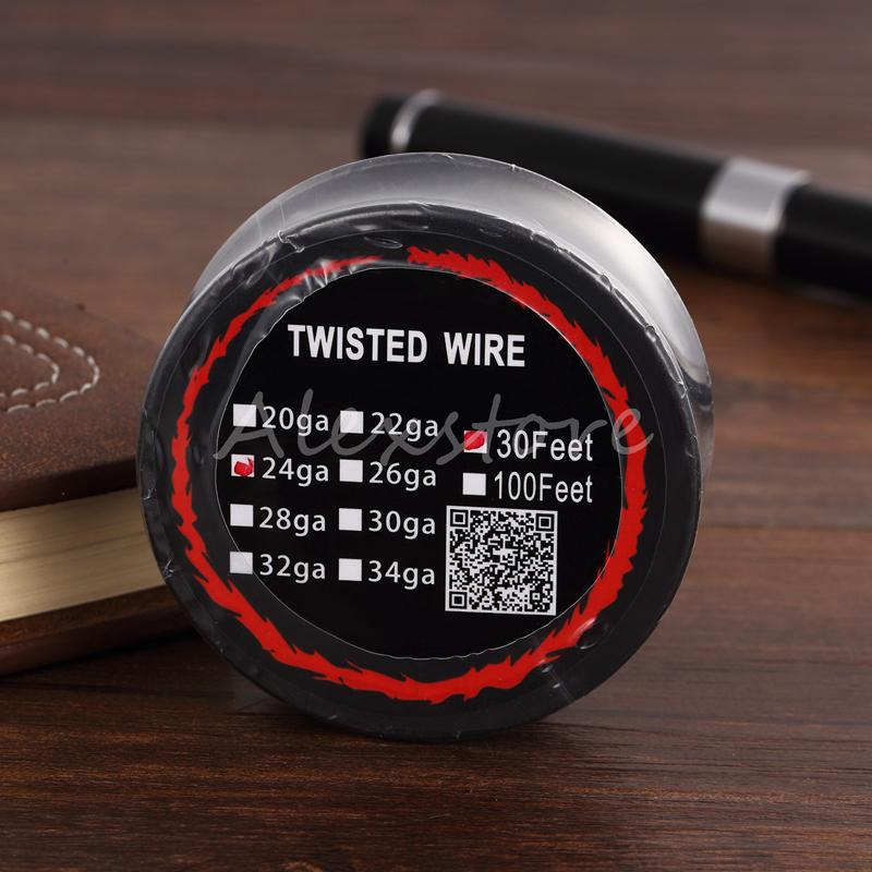 Twisted Wire Heating Resistance Coil 30 feet 30Ft Spool AWG 24g 26g 28g 30g Gauge for Vape DIY Rebuildable Atomizer RDA RBA