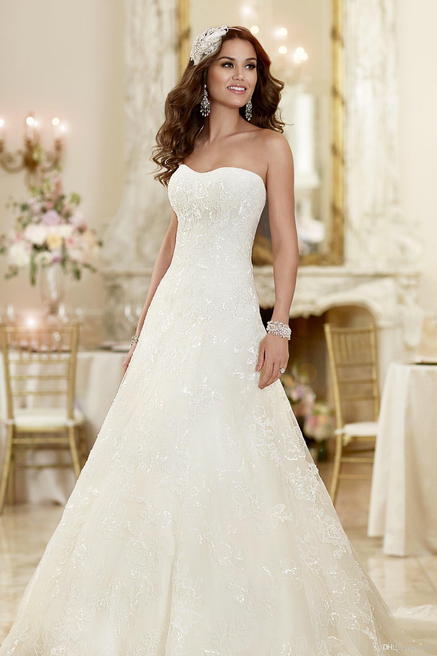 2015 Strapless Semi Sweetheart Neckline Bridal Gowns Elegant A Line ...