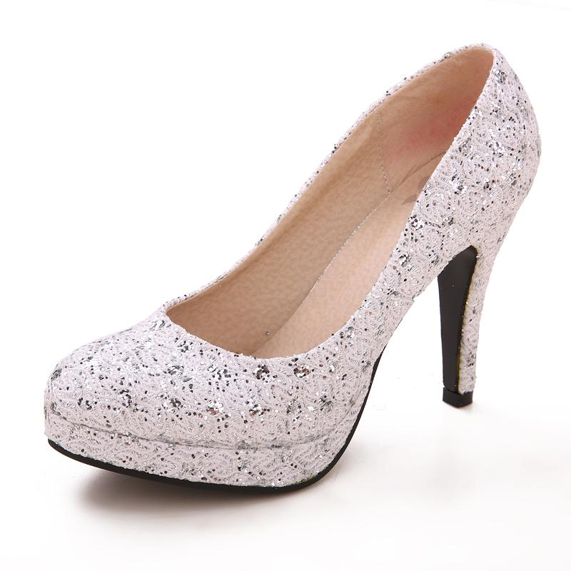 Silver Bridal Wedding Shoes Girl High Heeled Shoes Nightclub ...