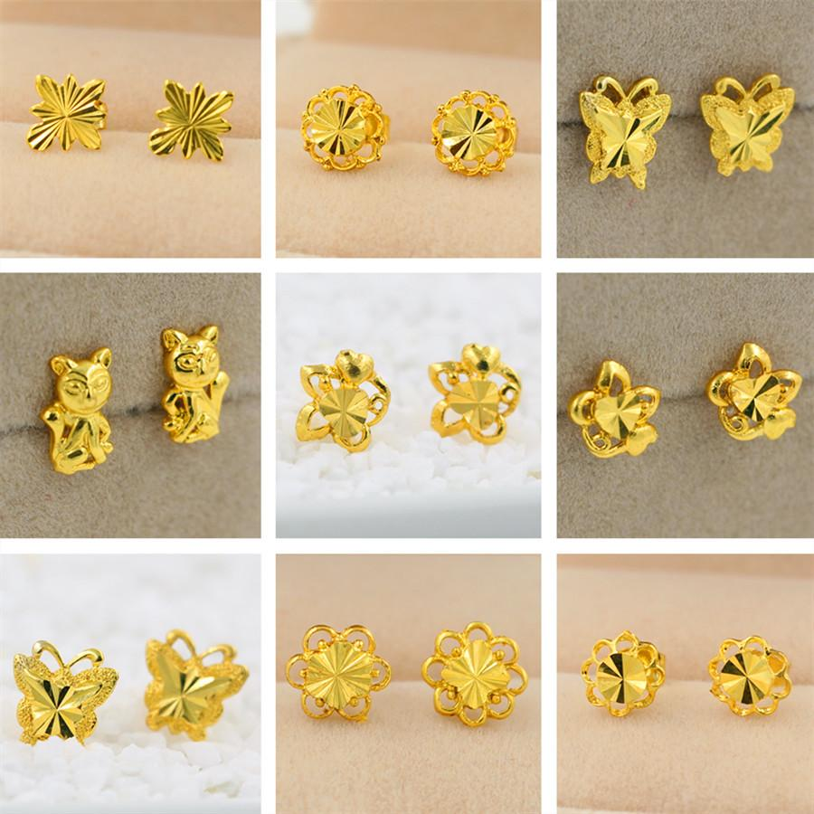 Women Nail Earrings Mix Style Plating 24K Yellow Gold Filled GF ...