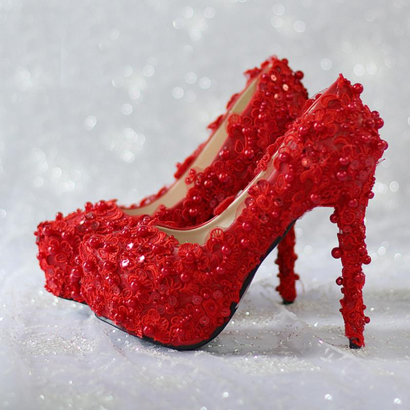 4e50ab5ade8 Bling Bling Red Glitter Wedding Shoes Evening Prom Party Shoes Lace Flower  Women Shoes 14cm High Heels Elegant Bridesmaid Shoes Peep Toe Bridal Shoes  ...