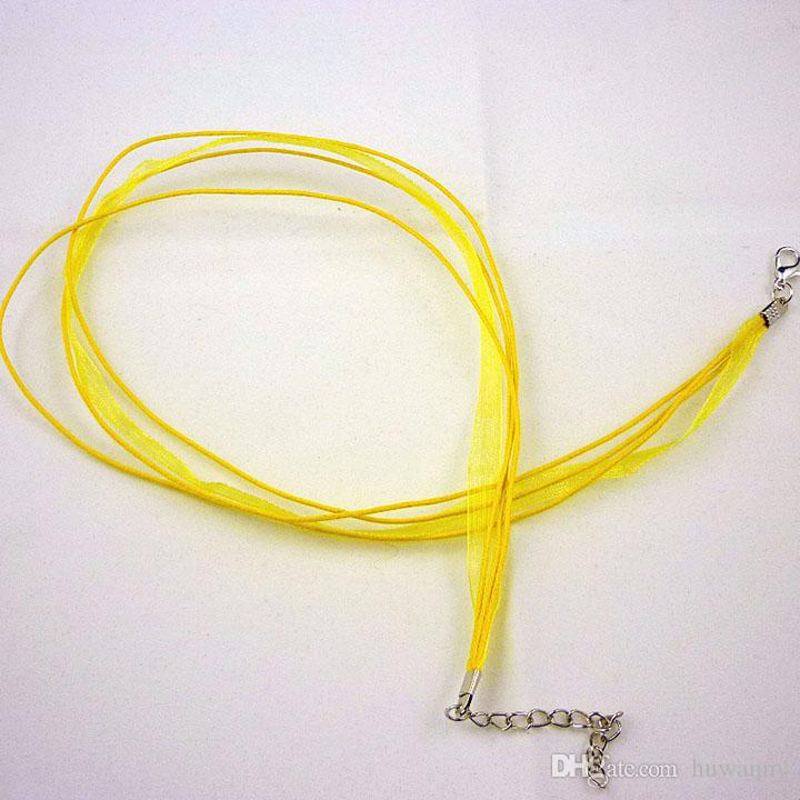 Ribbon Necklaces Organza Voile Rope Chains 18 inch 3+1 Hot Sale Link Cord Chain Necklace for Women Fashion Jewelry 0214WH