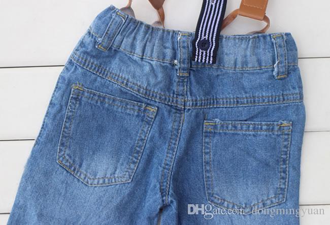 Yaz Bebek Erkek Kot Setleri Giyim Mavi Çizgili Casual Gömlek + Askı Şort Kot Pantolon 2 ADET Kostüm Çocuklar Giysi Suits