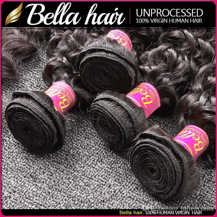 Bella ® 8a 8 ~ 30INCH BRAZILIANHAIR BUNDLES Obearbetat Human Hair Double Weft Hair Kinky Curly Weave / Black Color Extensions