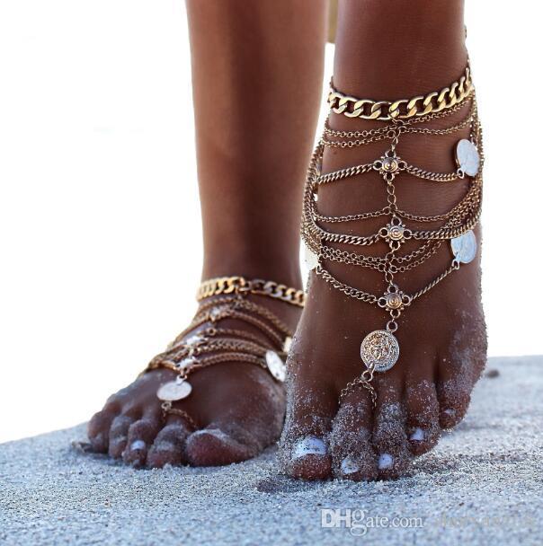 Босоножки Босоножки с ремешком и цепочкой с кольцом на пальце ноги Рабыня Ножные браслеты Цепь Песок Свадьба Подружка невесты Чешские пляжные украшения для вечеринок