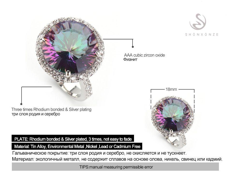Shunxunze Dropshipping Bruiloft Sieraden Sets Ring / Earring / Hanger Voor Dames Rob Mad Rainbow Cubic Zirconia Rhodium Plated R# 6 7 8 9