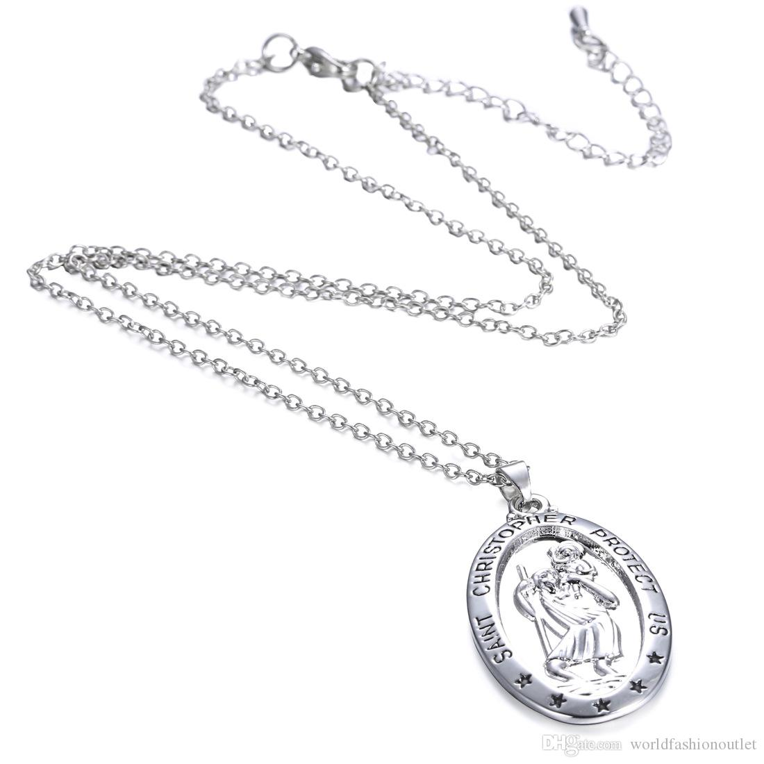 Necklaces Pendants Charm Women Choker Chunky Statement Bib Chain Necklace St CHRISTOPHER PROTECT US Necklaces Silver Saint Jewelry Free DHL