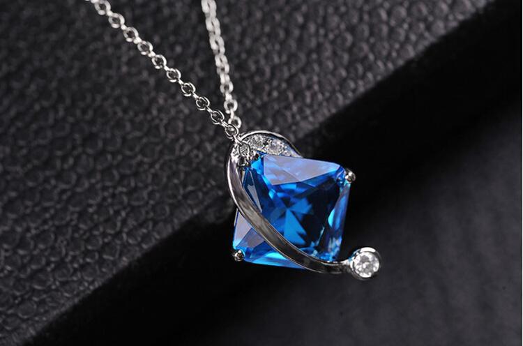 Square Zircon colgante, collar de micro incrustaciones de joyería para mujeres mejor regalo de joyería fina collar colgante 1406