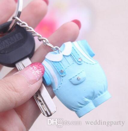 Los Baby-Dusche-Geschenk-nette Harz-Baby-Kleidung-Schlüsselkette blaues Keychain für Jungenrosa für Mädchen