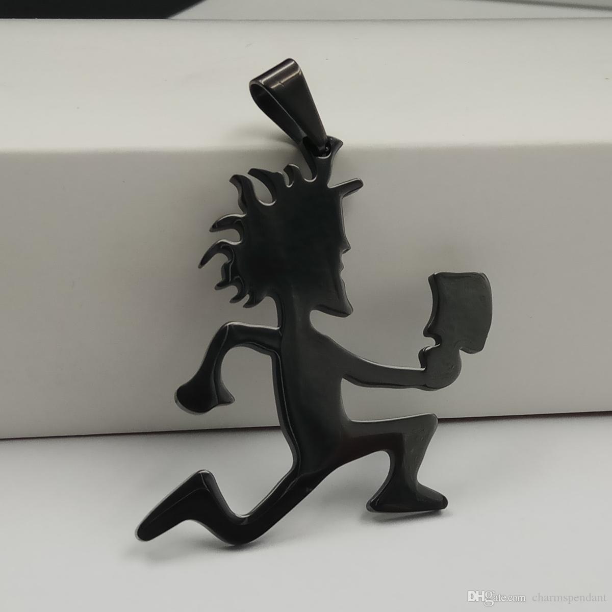 Bateau libre Plaqué noir ICP Bijoux Punk En Acier Inoxydable grand 2 '' Hatchetman Juggalette Pendentif avec 5mm 24 pouces Collier Cubain À Chaîne