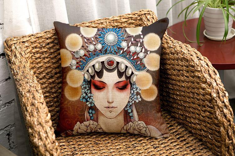 Yeni Klasik Yastık Kılıfı Opera Maske Minder Örtüsü Çin Tarzı Cuscini Divano Vintage Minder Kapak Araba Koltuğu Dekorasyon için