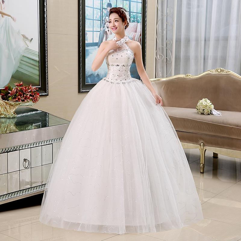 New Halter Autumn Bride Strapless Dress 2015 Hot Sale Sweetange Korean Style Sweet Romantic Lace Up Princess Retro Cap Sleeve