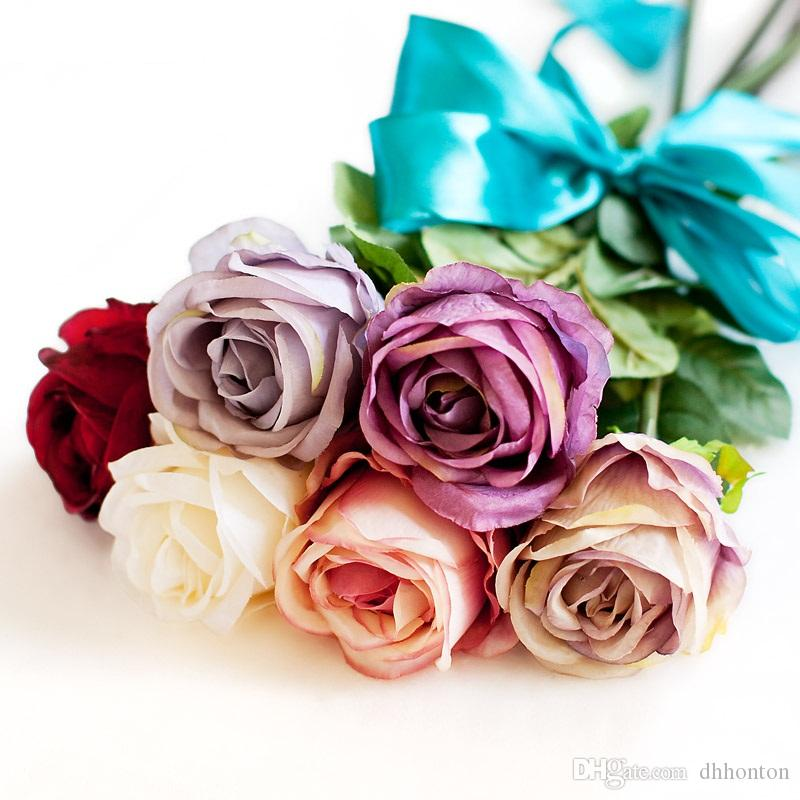 silk flowers wholesale Silk rose flower top grade non-polluting Artificial Flower Simulation Wedding or Home Decorative Flower