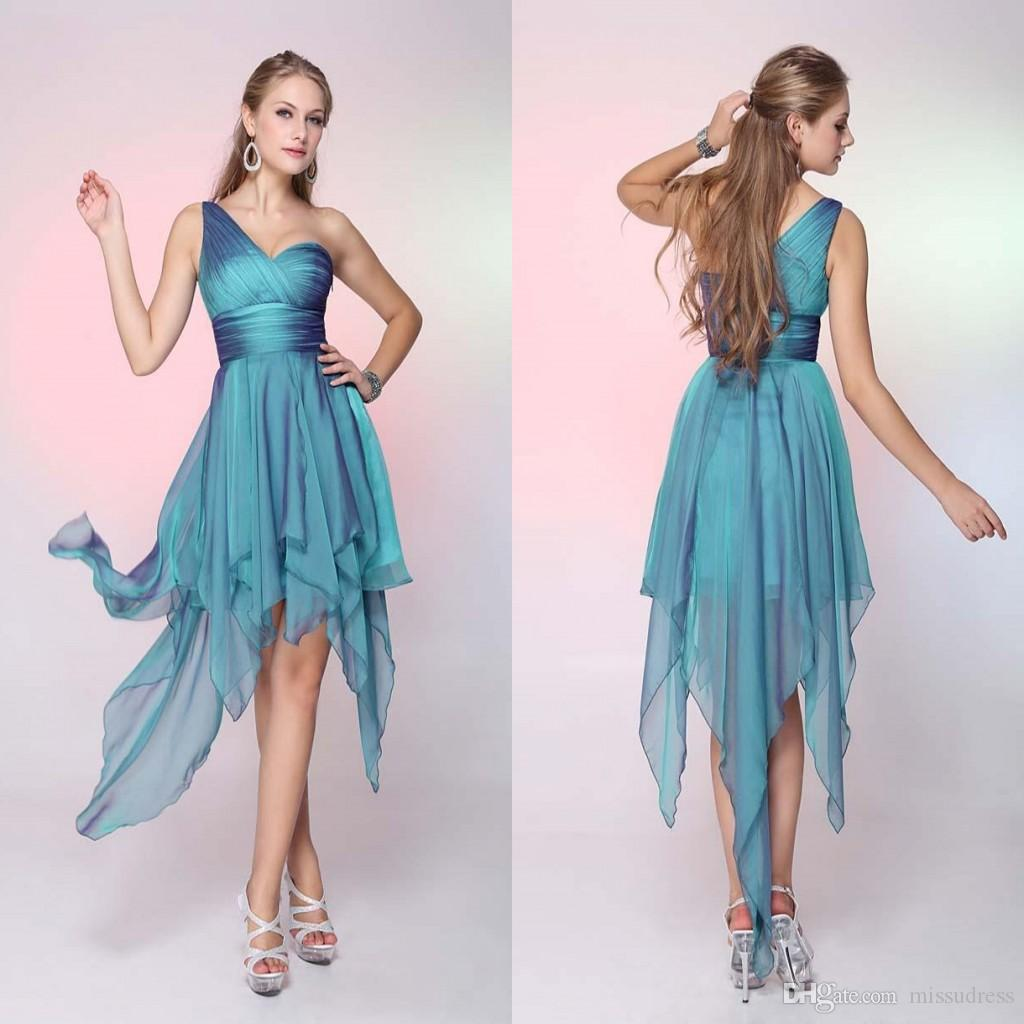 Short Ruffles Beach Party Dresses 2015 One Shoulder Pleated A Line ...