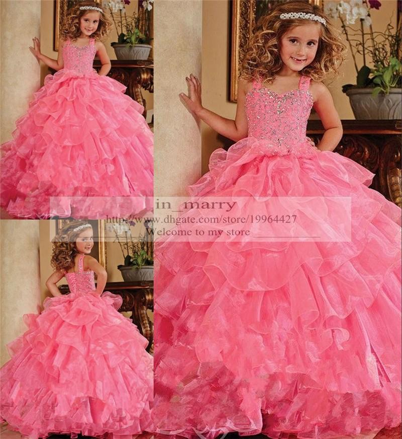 Compre Pink Puffy Girls Pantalones Vestidos 2015 Ball Gown Crystal ...