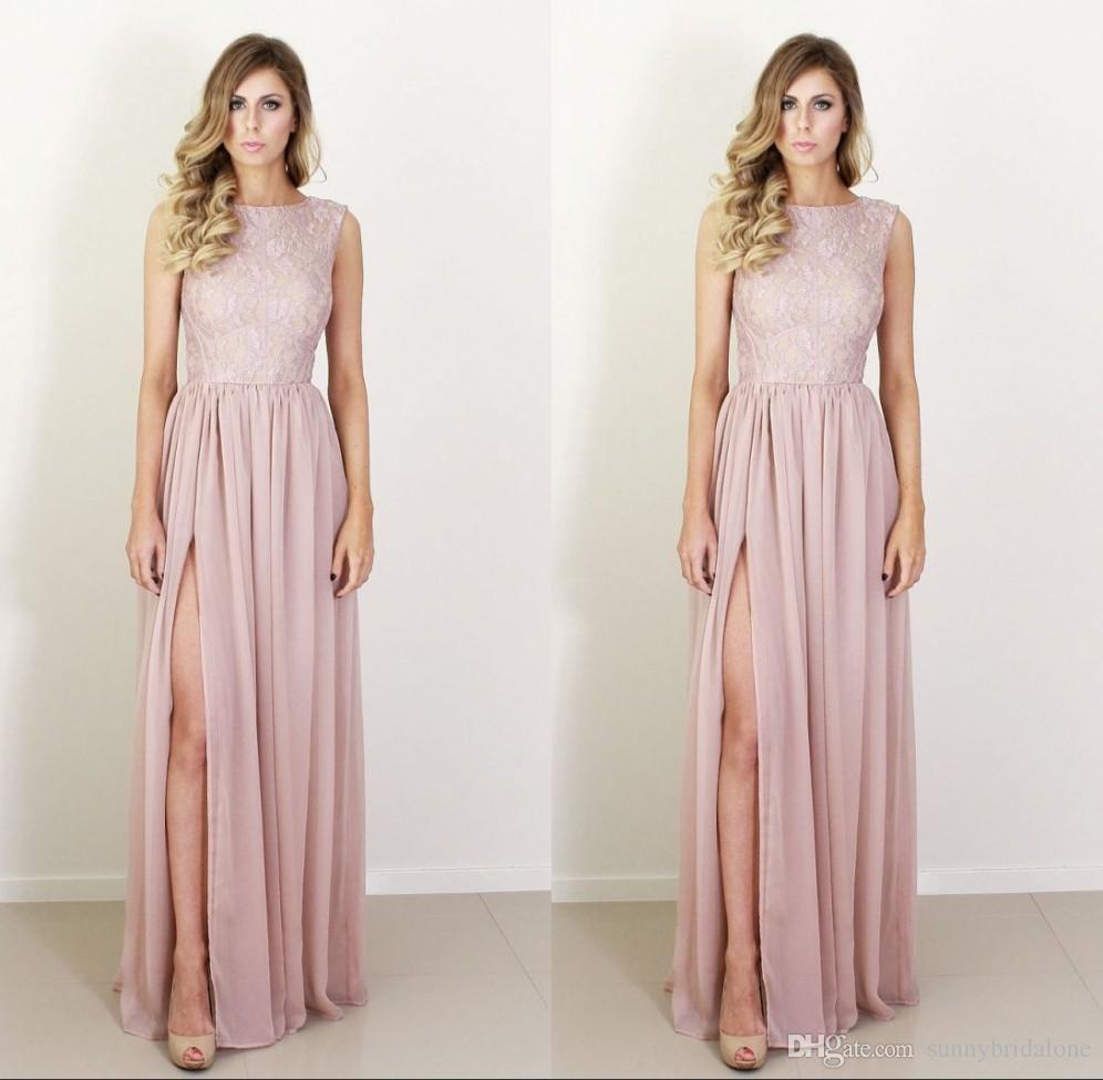 Großhandel Blush Pink Brautjungfernkleider Mit High Slit Lace Tank ...