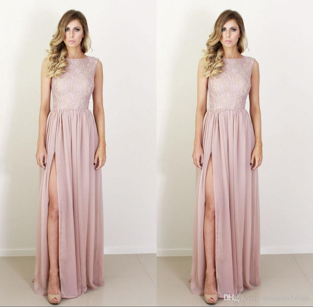 Blush pink bridesmaid dresses with high slit lace tank floor see larger image ombrellifo Images