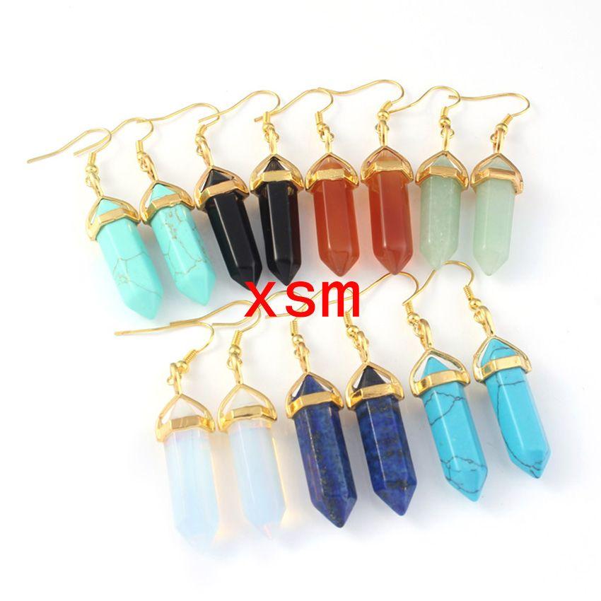 Natural Gems Stones Hexagonal Pointed Healing Reiki Chakra Pendant Charm Beads Earrings Jewelry Making