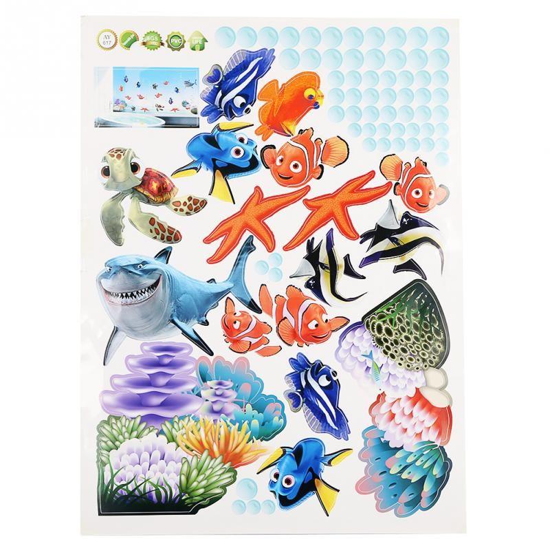 Novo estilo e hot diy mar oceano peixe vinil arte removível wall sticker home mural decoração da sala de banho