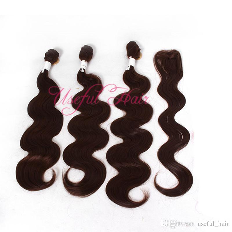 venta caliente / pelo de la onda del cuerpo teje 220 gramos paquete de pelo trenzado sintético con cierre de encaje, coser extensiones de cabello teje trama de cierre