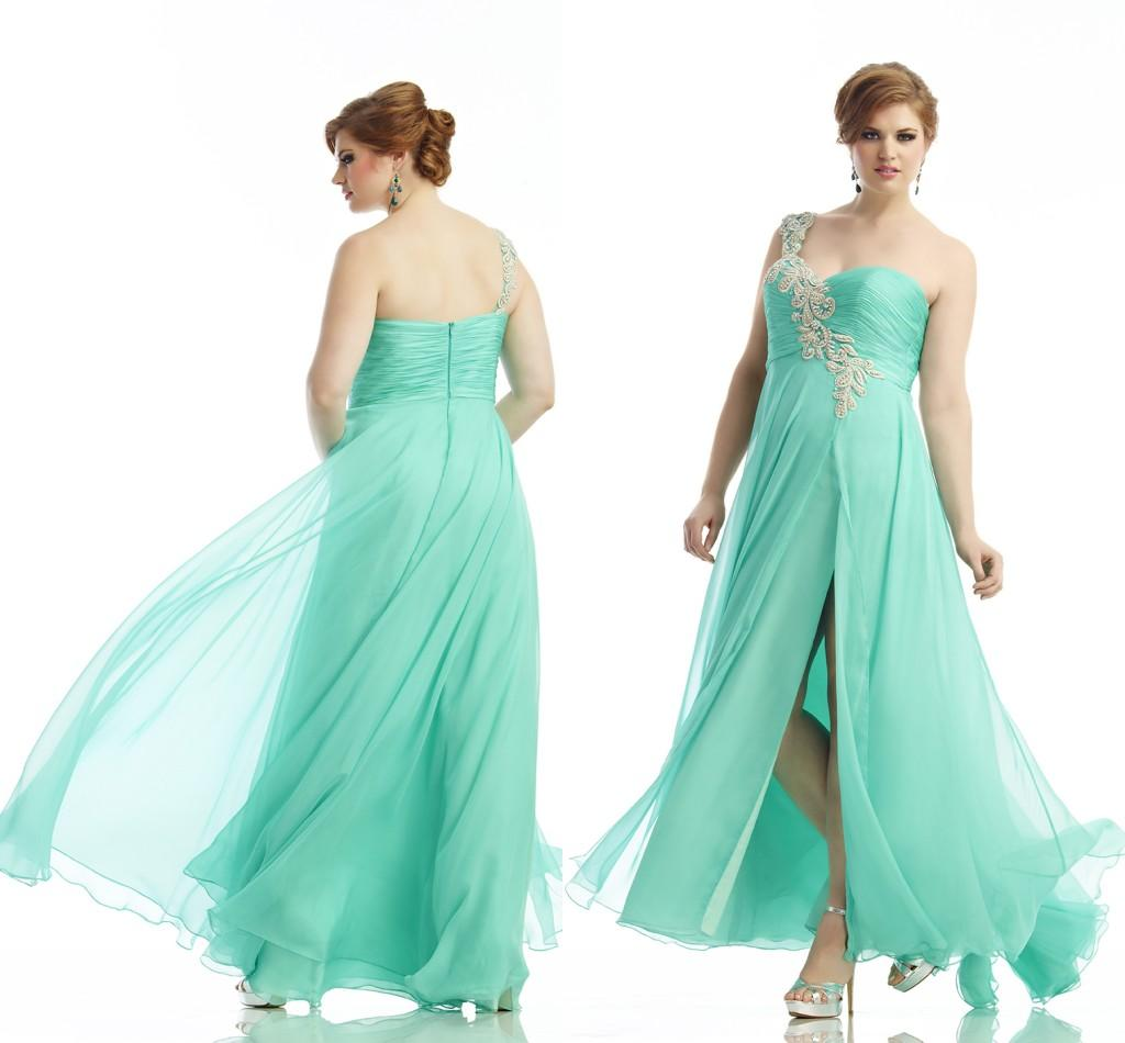 2014 One Shoulder Long Prom Dresses Chiffon Appliques Split Front ...