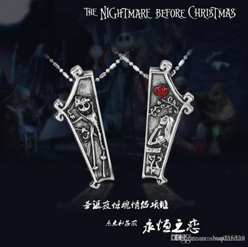 Fashion nightmare before christmas necklaces jewelry for lovers new Anime couple necklaces for lover top quality