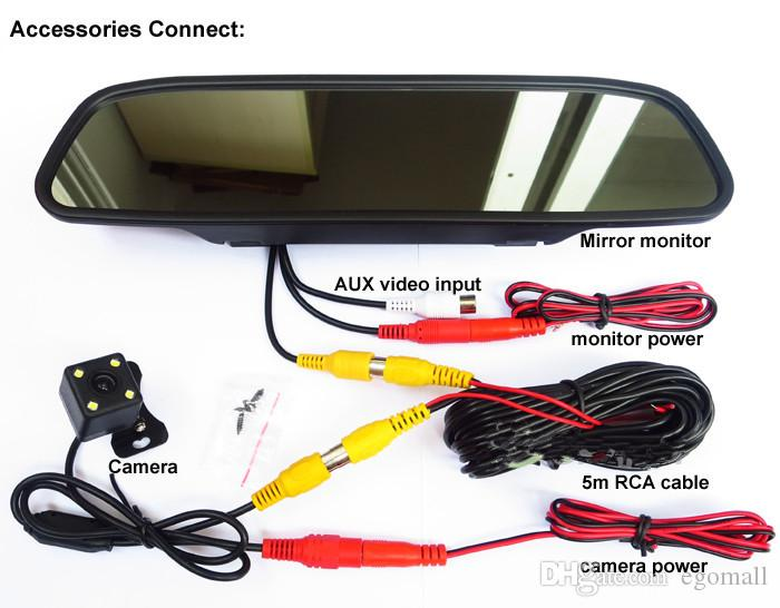 HD Video Auto Parking Monitor, 4.3 inch Car Rearview Mirror Monitor with LED Night Vision Reversing CCD Car Rear View Camera