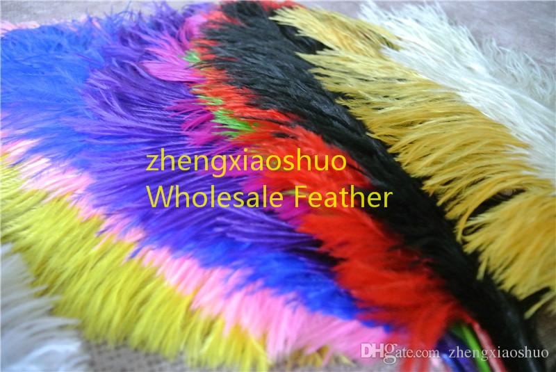 Оптовая продажа 100 шт. / лот 12-14 дюймов страусиное перо шлейф Королевский Буле, бирюза, ярко-розовый, желтый, фиолетовый, белый для свадьбы центральным