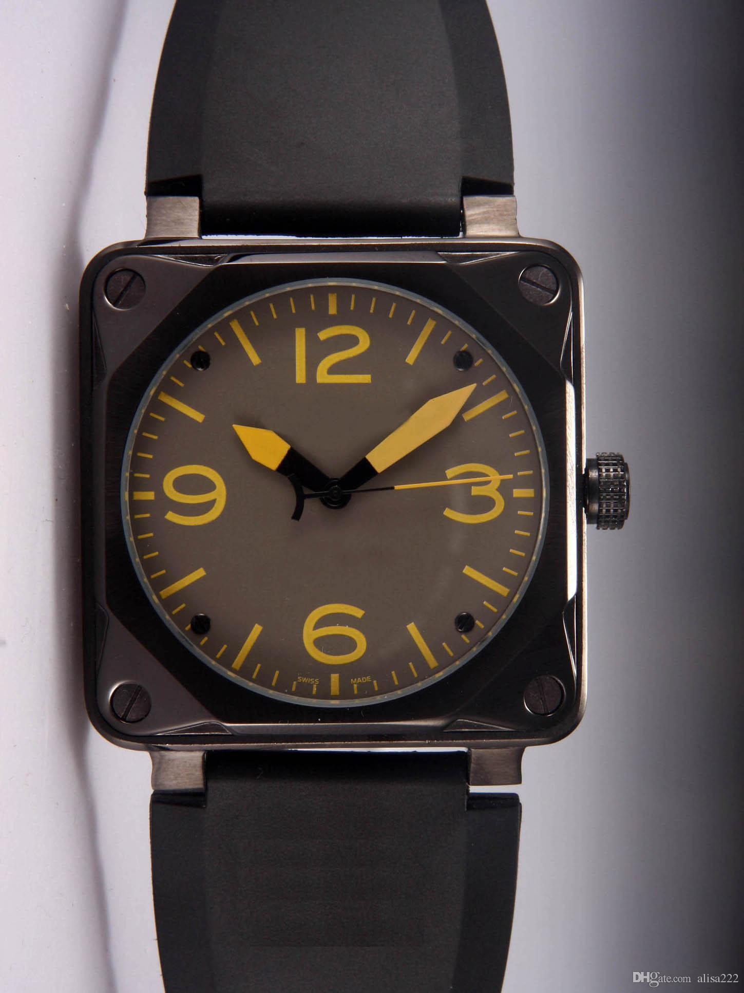 05c62edf0f6 Compre Melhor Marca De Luxo Designer De Novos Homens De Borracha Mecânica  Automática Pulseira De Relógio Suíço Preto PVD Inoxidável Quadrado Moda  Mens ...