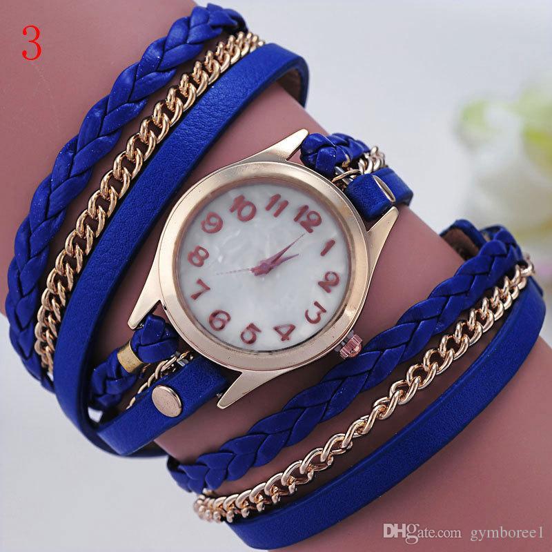 DHL 2015 Nouvelle Mode Vintage Coloré Multicouche Faux Bracelet En Cuir Bande Wrap Femmes Bracelet Montre Au Quartz Montre Femelle