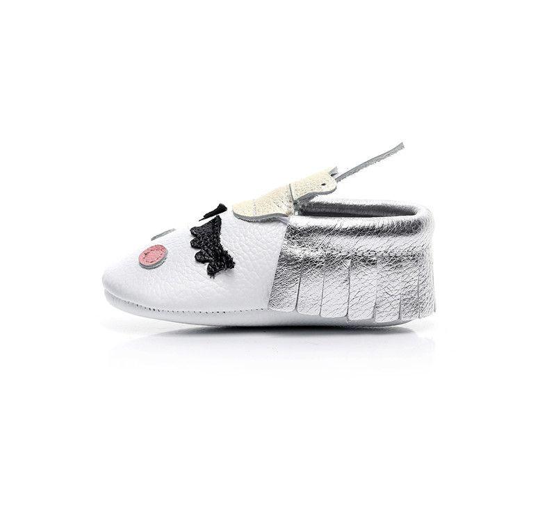 New Unique 6 Styles Christmas Crown Tassel Baby Shoes Kids Cartoon Genuine Leather Cowhide Children Princess Girls Prewalker