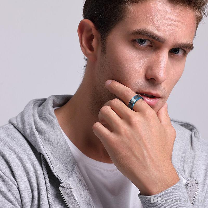 Bulk Wholesale Blue Tungsten Rings for Men Wedding Bands 8mm Men's Carbon Fiber Tungsten Carbide Men Ring Jewelry US Size 7-12