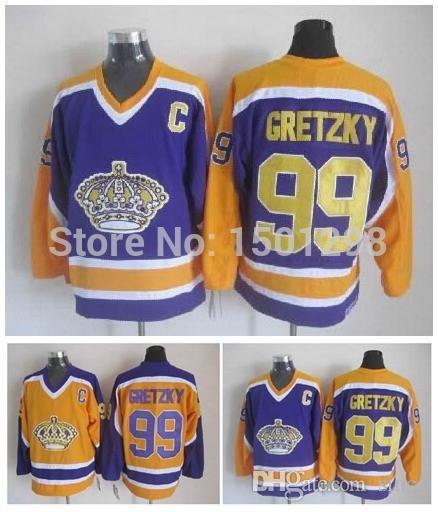 half off 371e0 c27b4 los angeles kings 99 wayne gretzky yellow with purple ...