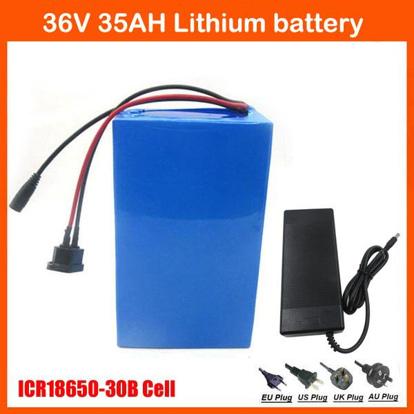 Free customs tax 1000W 36V Electric Bike Battery 36V 35AH Li-ion battery  Use for samsung 3000mah battery cells 42V 3A charger