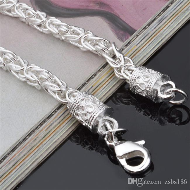 أعلى جودة 925 الفضة الاسترليني مطلي سلسلة سوار أزياء رجالية مجوهرات شحن مجاني