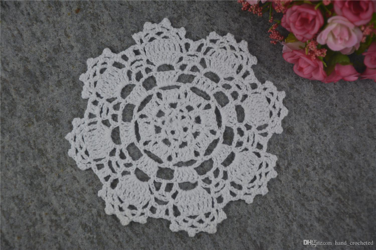 DIY Design Wedding Handmade Crochet Coasters Doily Placemats Crocheted Doilies Size 5 inches / Custom Color _DSC0048