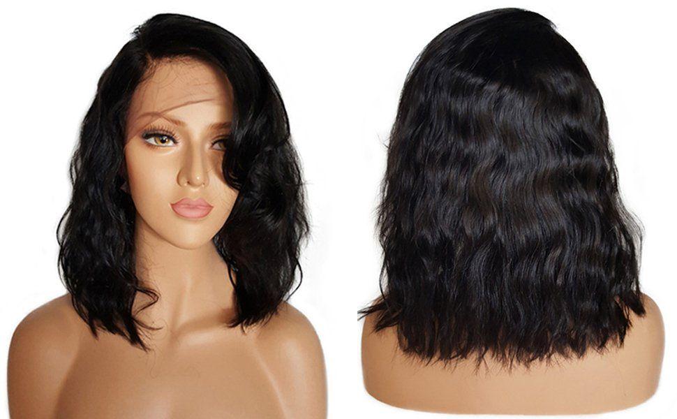 150% Densidade Do Cabelo Humano Bob Perucas Para As Mulheres Negras Curto ondulado Do Laço peruca Frontal Com Cabelo Do Bebê estrondo lado 12 inch