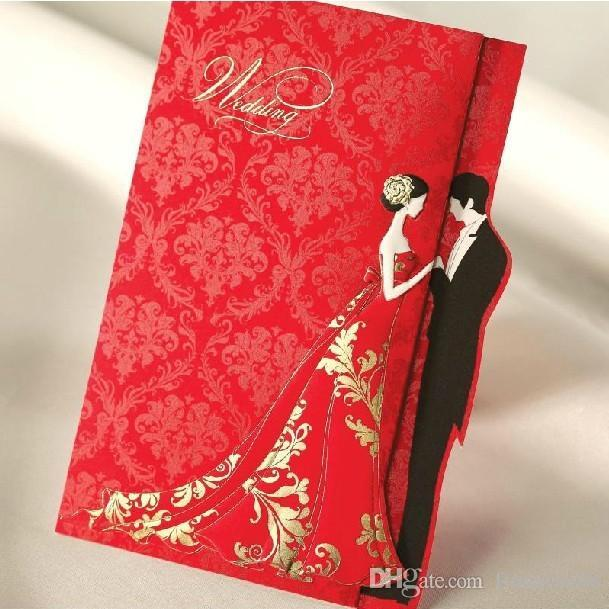 Romantic Flower Printing Wedding Invitations 2015 Red Laser Cut Card