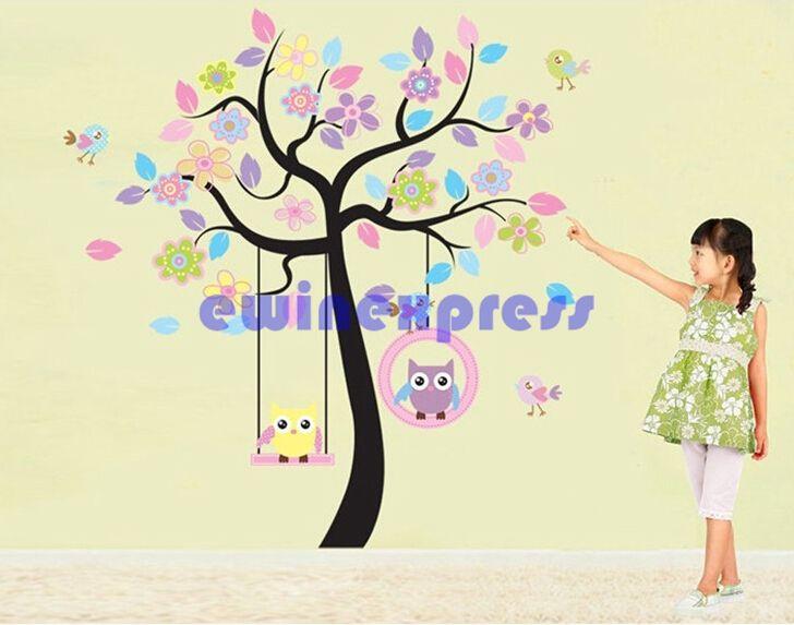 Freeship vente chaude grand hibou Swing fleur arbre Sticker amovible autocollants décor art enfants pépinière
