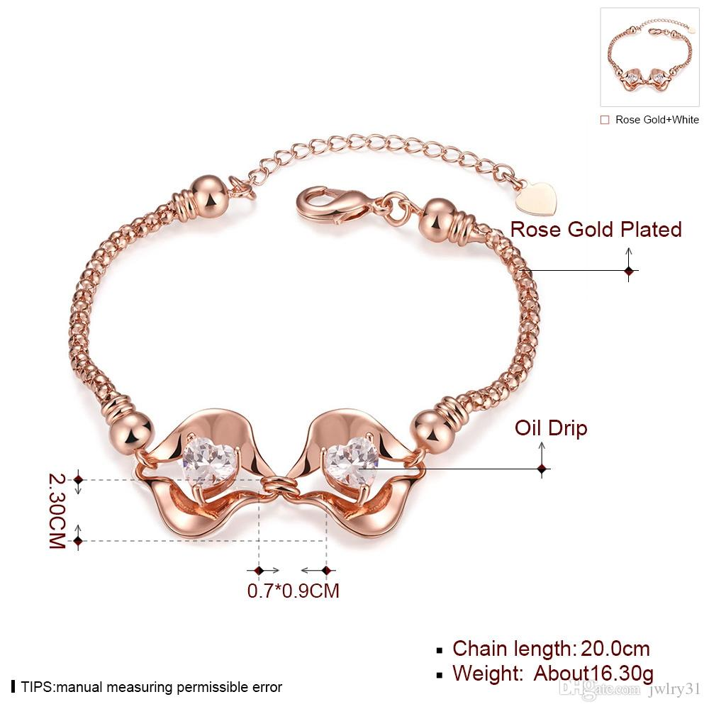 New Fashion Lips Bracelet Bangles Jewelry 18K Rose Gold Plated Austrian Crystal Heart Charms Bracelets for Women