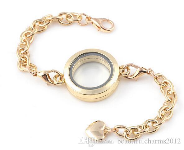 Mix Colors Round Plain 25MM Floating Locket Charm Bracelet Magnetic Glass Living Locket Bangle