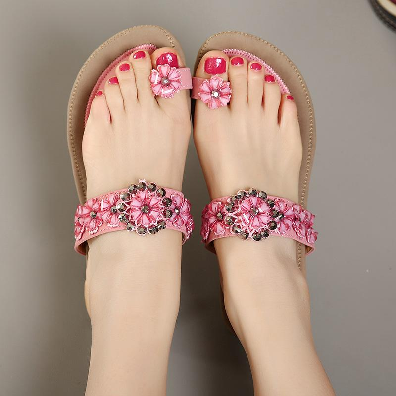 e5adc50de216b Plus Size 40 41 Elegant Pink Beige Flower Crystal Rhinestone Thong ...