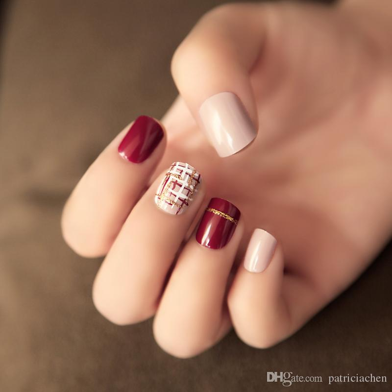 Cdh Burgundy Fake Nails Nature Short Length Round Head Simple Stlyle ...
