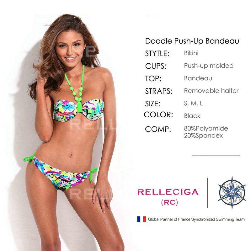 c25d6b70fc3ce Compre Relleciga Fashionable Doodle Print 1 2 Copa Bandeau Top ...