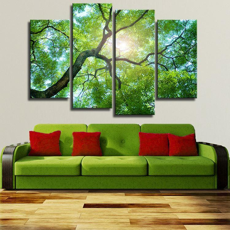 4 Panels Green Tree Art Wall Painting Print On Canvas For Home Decor Paints On Wall Pictures Light Trees Decoration No Framed